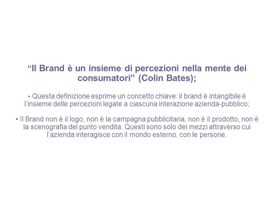 """"""" Il Brand è un insieme di percezioni nella mente dei consumatori"""" (Colin Bates); Questa definizione esprime un concetto chiave: il brand è intangibil"""