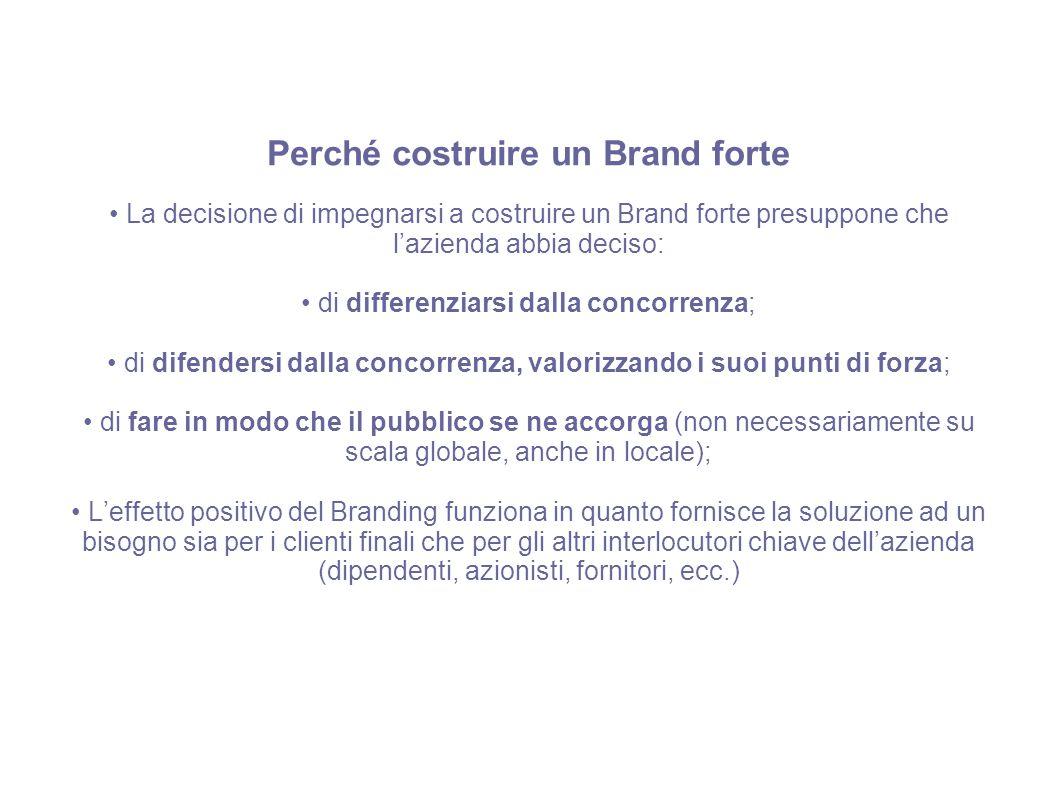 Perché costruire un Brand forte La decisione di impegnarsi a costruire un Brand forte presuppone che l'azienda abbia deciso: di differenziarsi dalla c