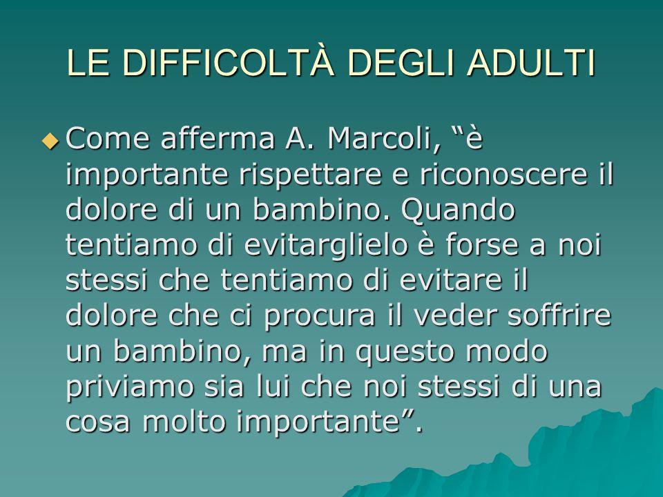 """LE DIFFICOLTÀ DEGLI ADULTI  Come afferma A. Marcoli, """"è importante rispettare e riconoscere il dolore di un bambino. Quando tentiamo di evitarglielo"""
