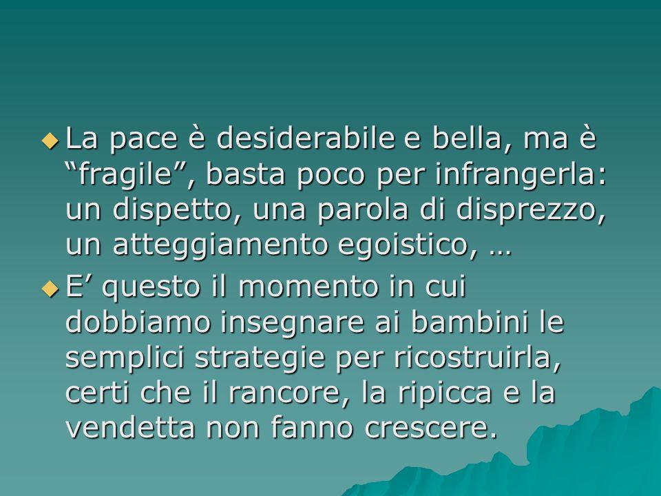 """ La pace è desiderabile e bella, ma è """"fragile"""", basta poco per infrangerla: un dispetto, una parola di disprezzo, un atteggiamento egoistico, …  E'"""