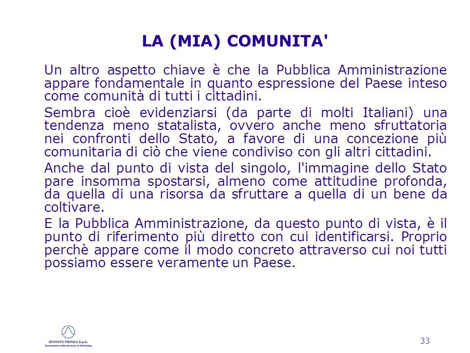 33 LA (MIA) COMUNITA Un altro aspetto chiave è che la Pubblica Amministrazione appare fondamentale in quanto espressione del Paese inteso come comunità di tutti i cittadini.