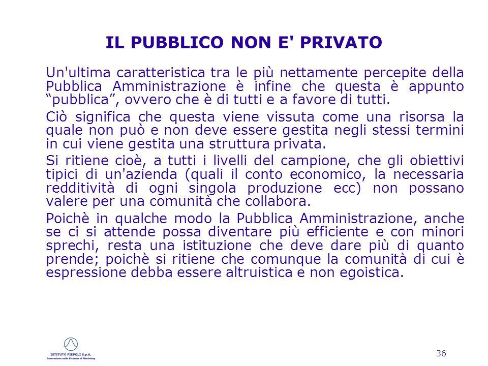 36 IL PUBBLICO NON E PRIVATO Un ultima caratteristica tra le più nettamente percepite della Pubblica Amministrazione è infine che questa è appunto pubblica , ovvero che è di tutti e a favore di tutti.
