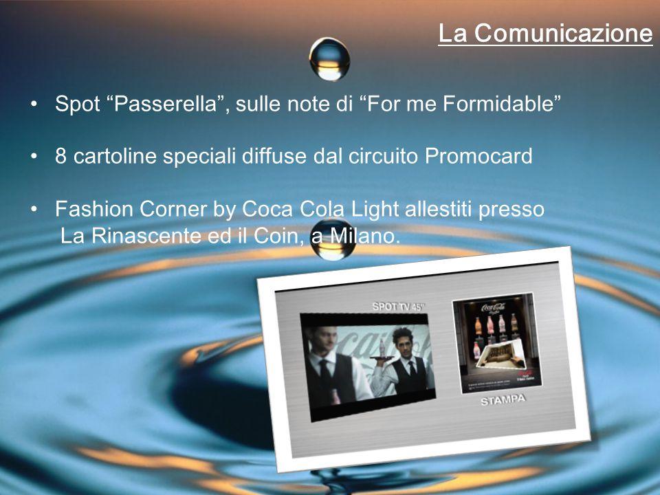 La Comunicazione Spot Passerella , sulle note di For me Formidable 8 cartoline speciali diffuse dal circuito Promocard Fashion Corner by Coca Cola Light allestiti presso La Rinascente ed il Coin, a Milano.