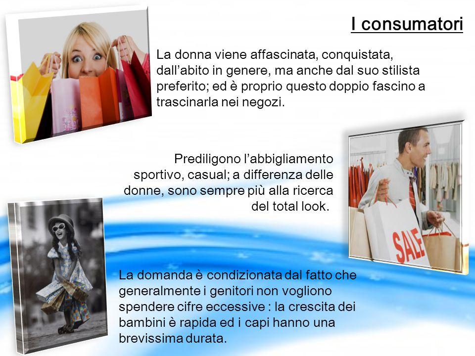I consumatori Prediligono l'abbigliamento sportivo, casual; a differenza delle donne, sono sempre più alla ricerca del total look..