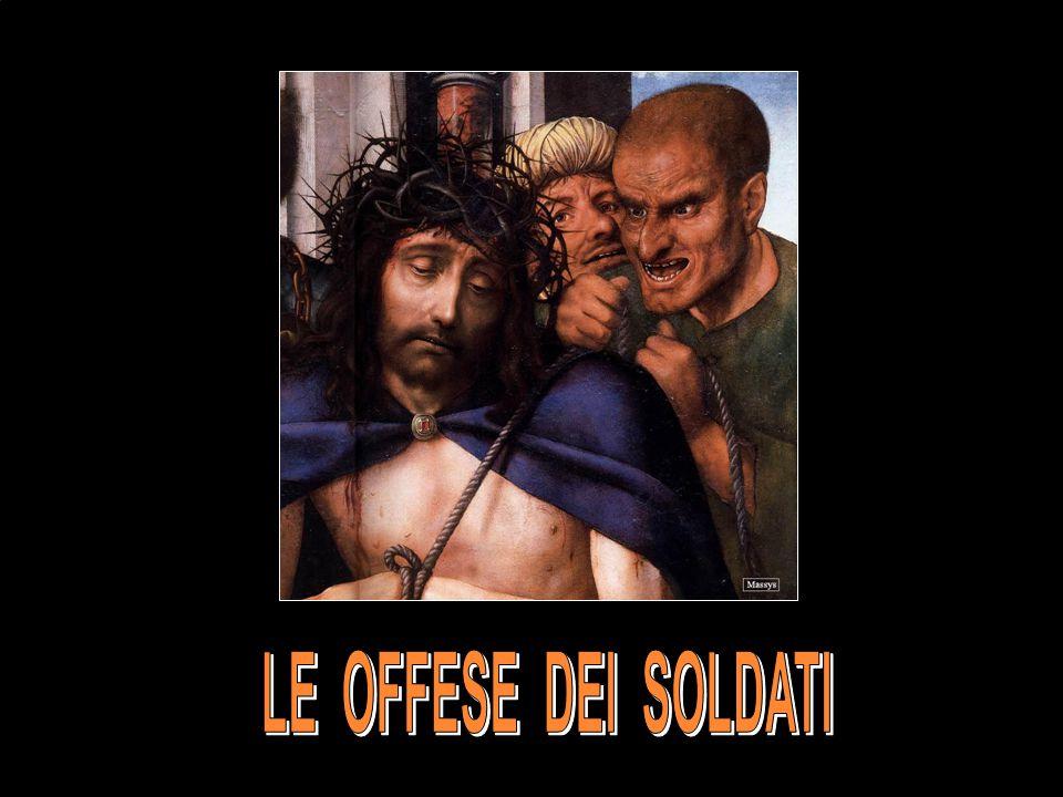 Allora anche Erode, con i suoi soldati, lo insultò, si fece beffe di lui, gli mise addosso una splendida veste e lo rimandò a Pilato.