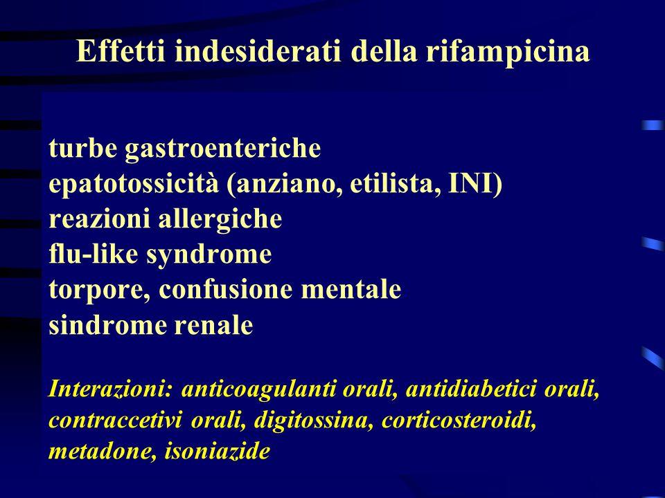 turbe gastroenteriche epatotossicità (anziano, etilista, INI) reazioni allergiche flu-like syndrome torpore, confusione mentale sindrome renale Intera