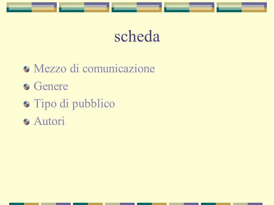 scheda Mezzo di comunicazione Genere Tipo di pubblico Autori