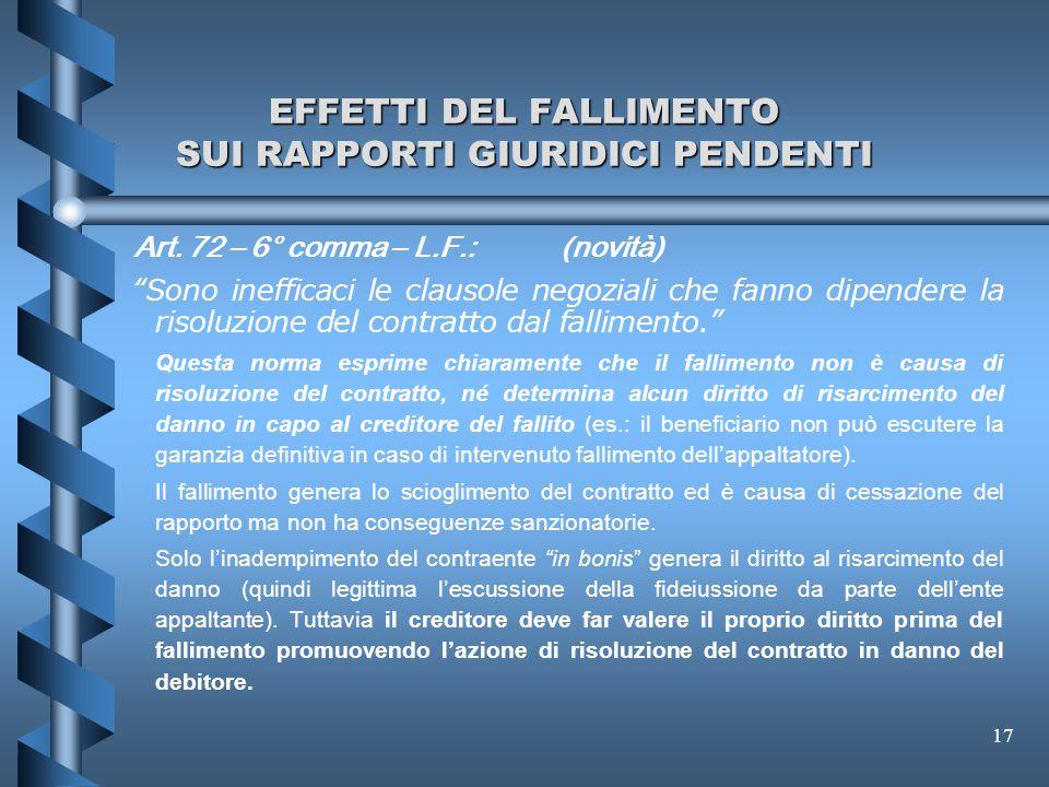 """17 EFFETTI DEL FALLIMENTO SUI RAPPORTI GIURIDICI PENDENTI Art. 72 – 6° comma – L.F.: (novità) """"Sono inefficaci le clausole negoziali che fanno dipende"""