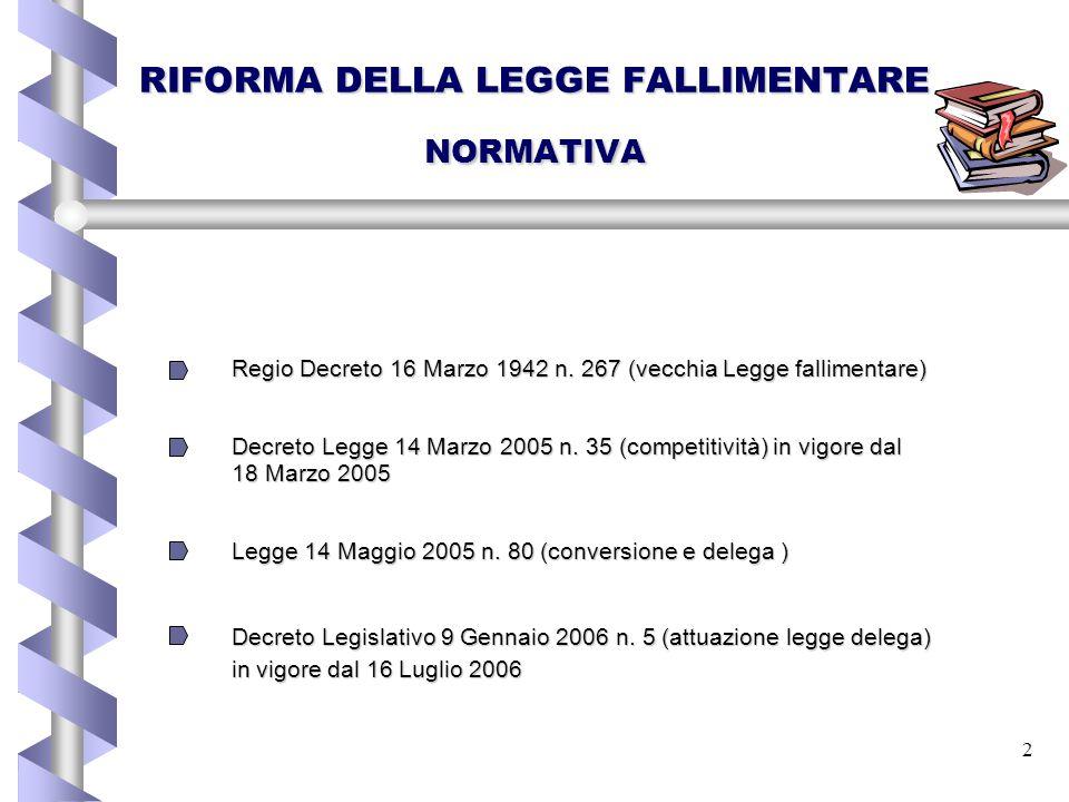 2 RIFORMA DELLA LEGGE FALLIMENTARE NORMATIVA Regio Decreto 16 Marzo 1942 n. 267 (vecchia Legge fallimentare) Regio Decreto 16 Marzo 1942 n. 267 (vecch