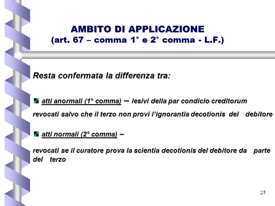 25 AMBITO DI APPLICAZIONE (art. 67 – comma 1° e 2° comma - L.F.) Resta confermata la differenza tra: atti anormali (1° comma) – lesivi della par condi