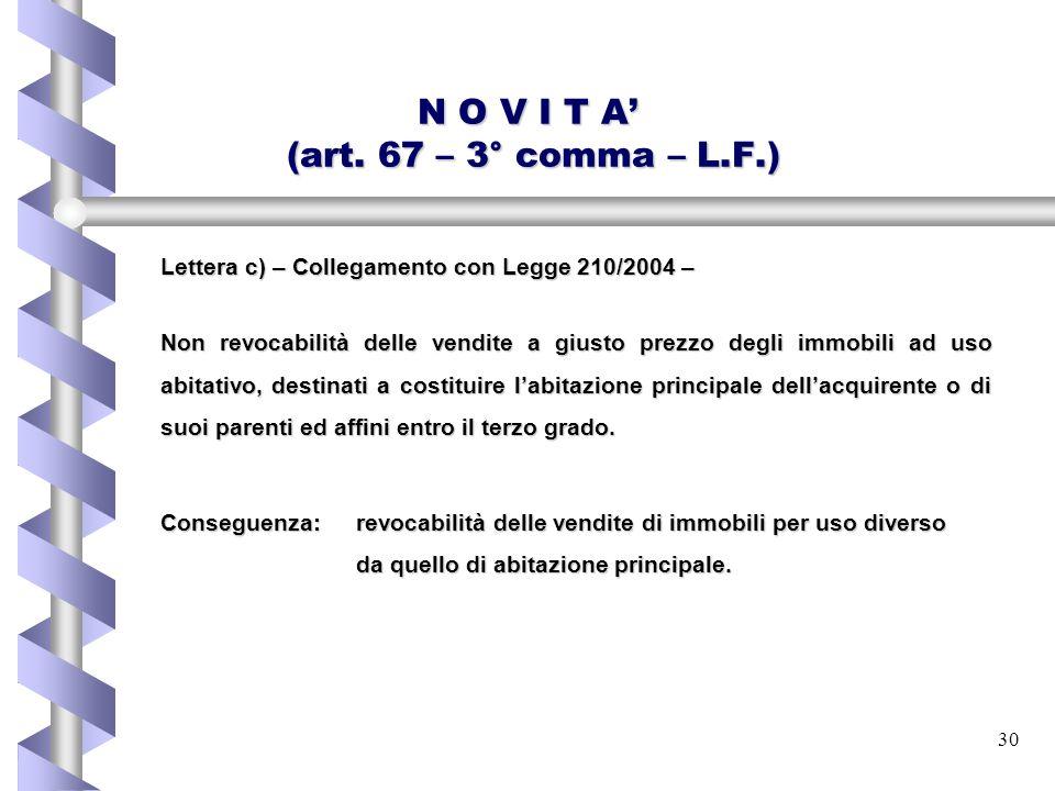 30 N O V I T A' (art. 67 – 3° comma – L.F.) Lettera c) – Collegamento con Legge 210/2004 – Non revocabilità delle vendite a giusto prezzo degli immobi