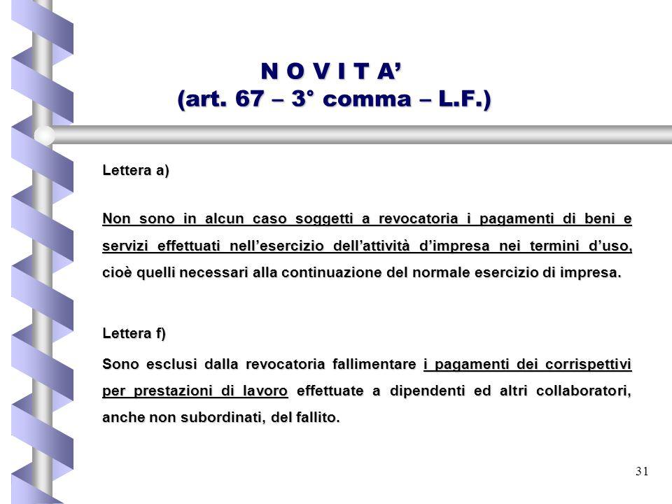 31 N O V I T A' (art. 67 – 3° comma – L.F.) Lettera a) Non sono in alcun caso soggetti a revocatoria i pagamenti di beni e servizi effettuati nell'ese