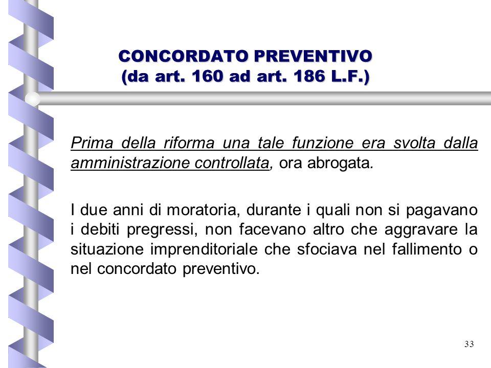 33 CONCORDATO PREVENTIVO (da art. 160 ad art. 186 L.F.) Prima della riforma una tale funzione era svolta dalla amministrazione controllata, ora abroga