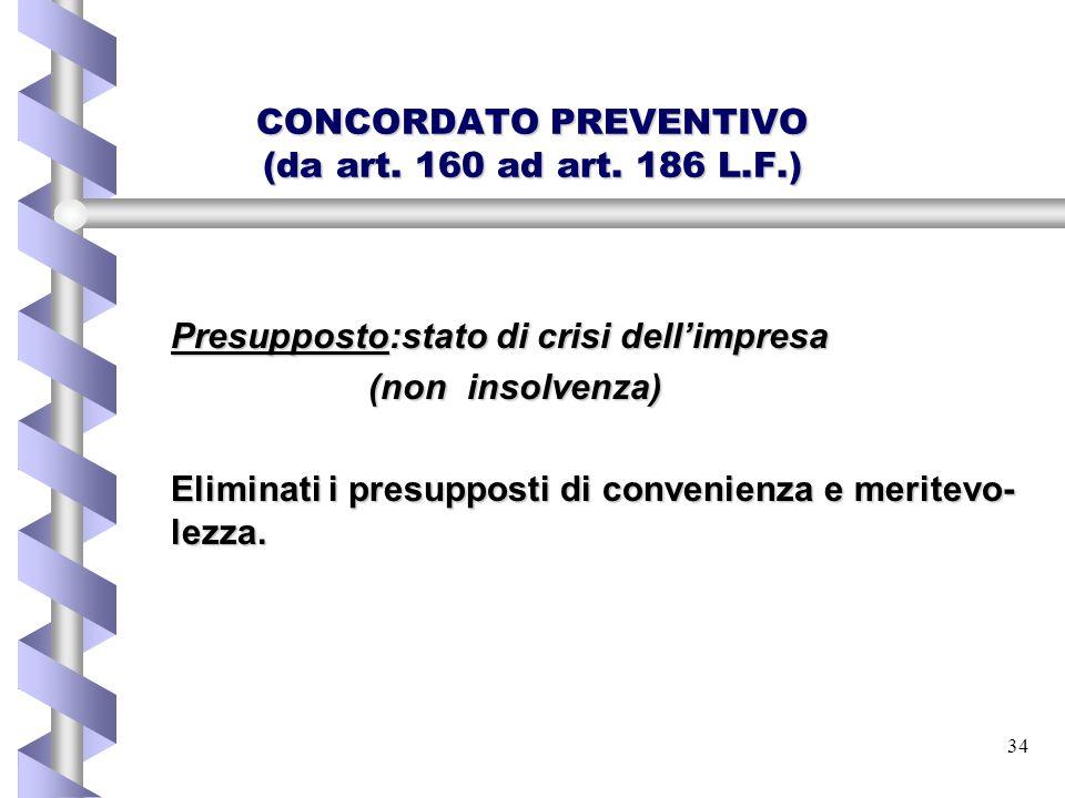 34 CONCORDATO PREVENTIVO (da art. 160 ad art. 186 L.F.) Presupposto:stato di crisi dell'impresa (non insolvenza) Eliminati i presupposti di convenienz