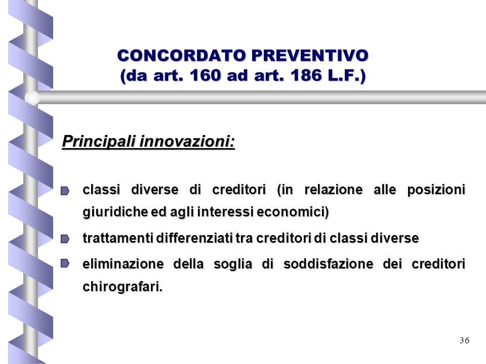 36 CONCORDATO PREVENTIVO (da art. 160 ad art. 186 L.F.) Principali innovazioni: classi diverse di creditori (in relazione alle posizioni giuridiche ed