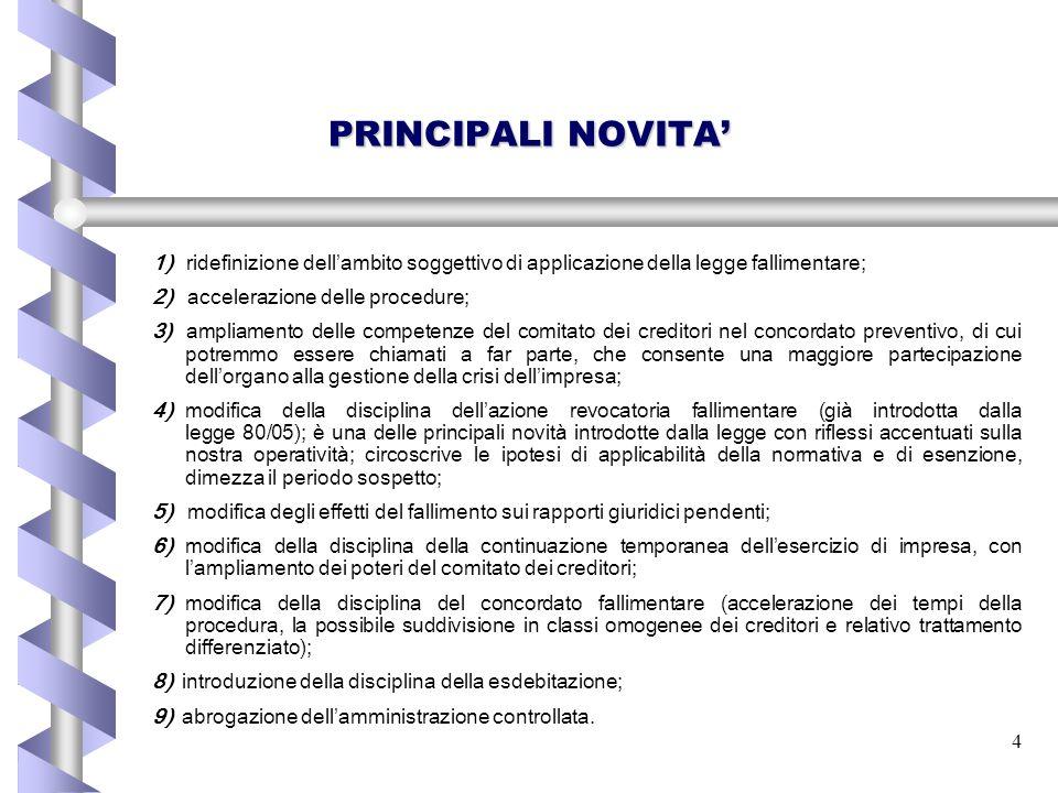 4 PRINCIPALI NOVITA' 1) ridefinizione dell ' ambito soggettivo di applicazione della legge fallimentare; 2) accelerazione delle procedure; 3) ampliame