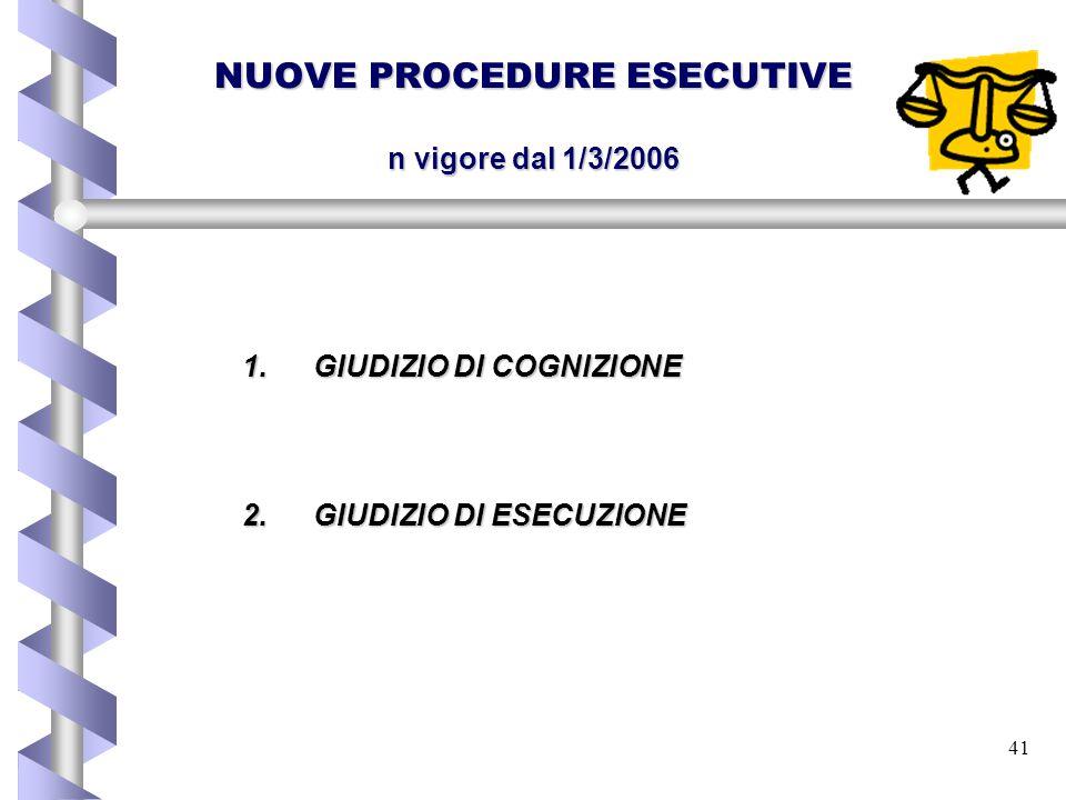 41 NUOVE PROCEDURE ESECUTIVE n vigore dal 1/3/2006 1.GIUDIZIO DI COGNIZIONE 2.GIUDIZIO DI ESECUZIONE