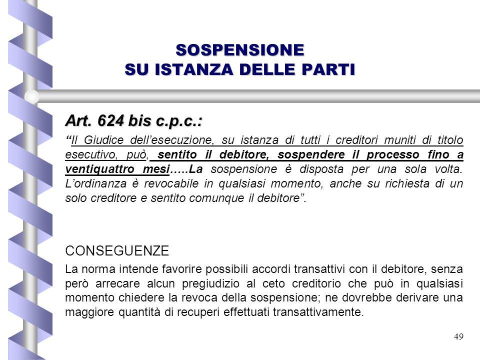 """49 SOSPENSIONE SU ISTANZA DELLE PARTI Art. 624 bis c.p.c.: """"Il Giudice dell'esecuzione, su istanza di tutti i creditori muniti di titolo esecutivo, pu"""