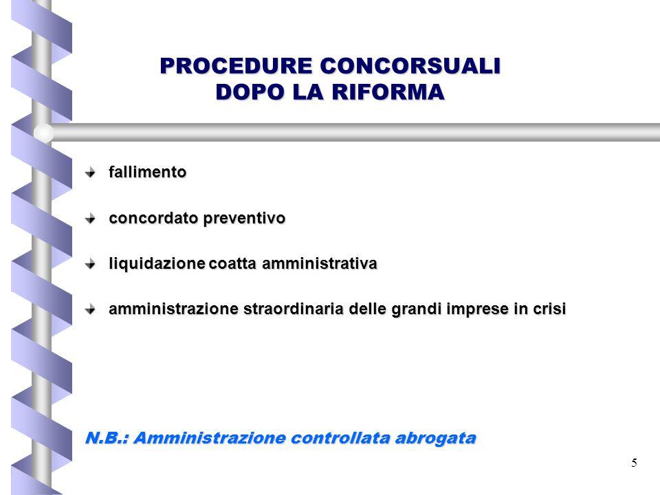 5 PROCEDURE CONCORSUALI DOPO LA RIFORMA fallimento concordato preventivo liquidazione coatta amministrativa amministrazione straordinaria delle grandi