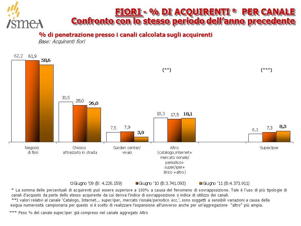 © 2005 ISMEA-Il mercato dei prodotti floricoli Job 6300 30/36 Base: Acquirenti fiori % di penetrazione presso i canali calcolata sugli acquirenti FIORI - % DI ACQUIRENTI * PER CANALE Confronto con lo stesso periodo dell'anno precedente * La somma delle percentuali di acquirenti può essere superiore a 100% a causa del fenomeno di sovrapposizione.