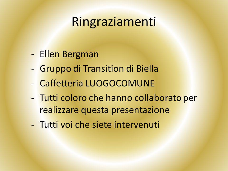 Ringraziamenti -Ellen Bergman -Gruppo di Transition di Biella -Caffetteria LUOGOCOMUNE -Tutti coloro che hanno collaborato per realizzare questa presentazione -Tutti voi che siete intervenuti
