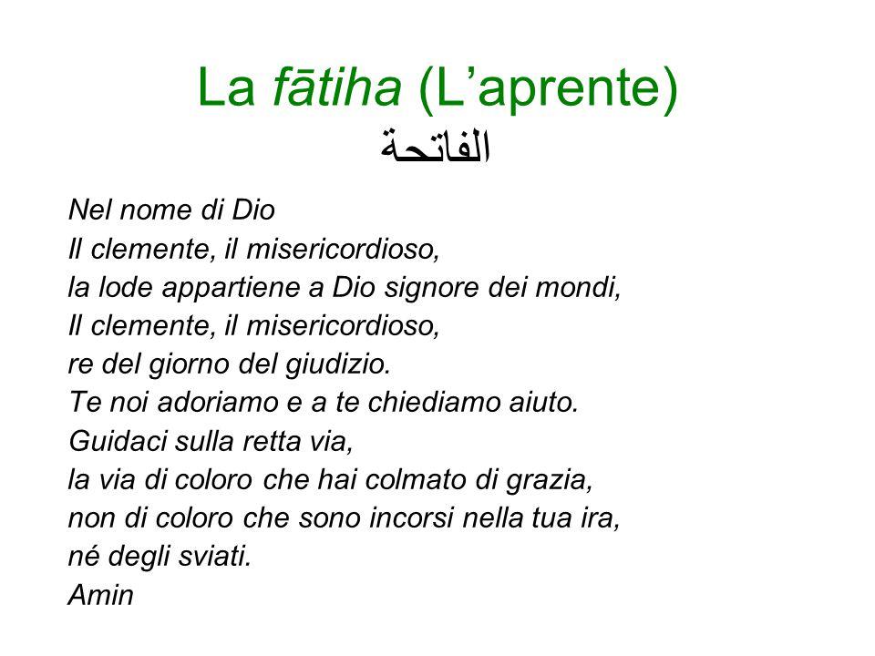 La struttura del Corano 114 sure (capitoli) per un totale di più di 6000 versetti (ayāt) Si apre con la fātiha, la sura aprente , che si pone come un patto che lega Dio e gli uomini.