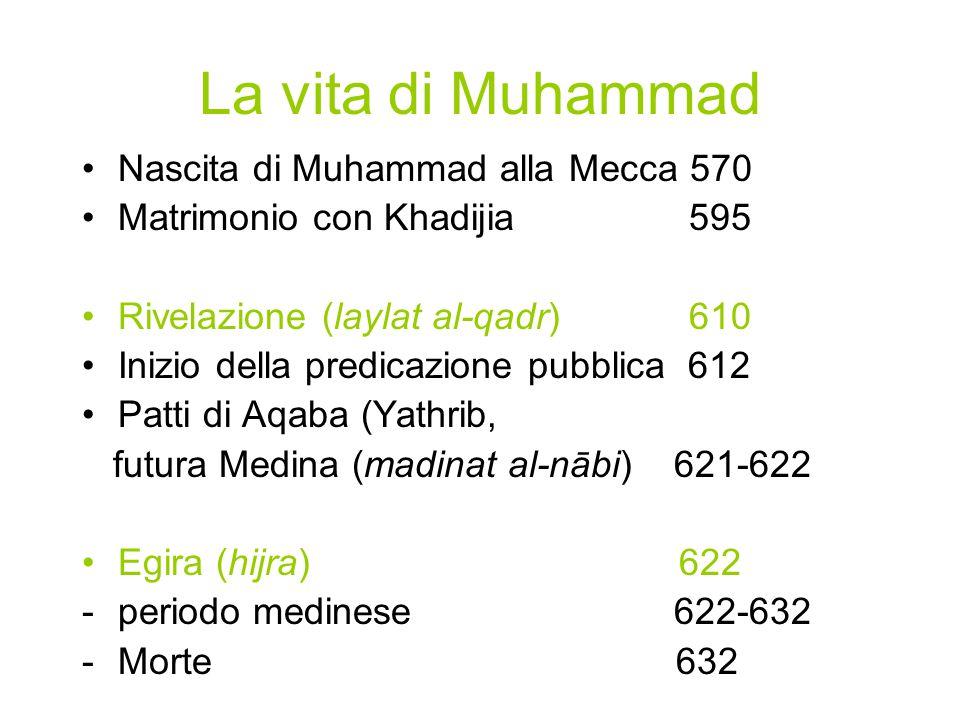 La vita di Muhammad Nascita di Muhammad alla Mecca 570 Matrimonio con Khadijia 595 Rivelazione (laylat al-qadr) 610 Inizio della predicazione pubblica 612 Patti di Aqaba (Yathrib, futura Medina (madinat al-nābi) 621-622 Egira (hijra) 622 -periodo medinese 622-632 -Morte 632