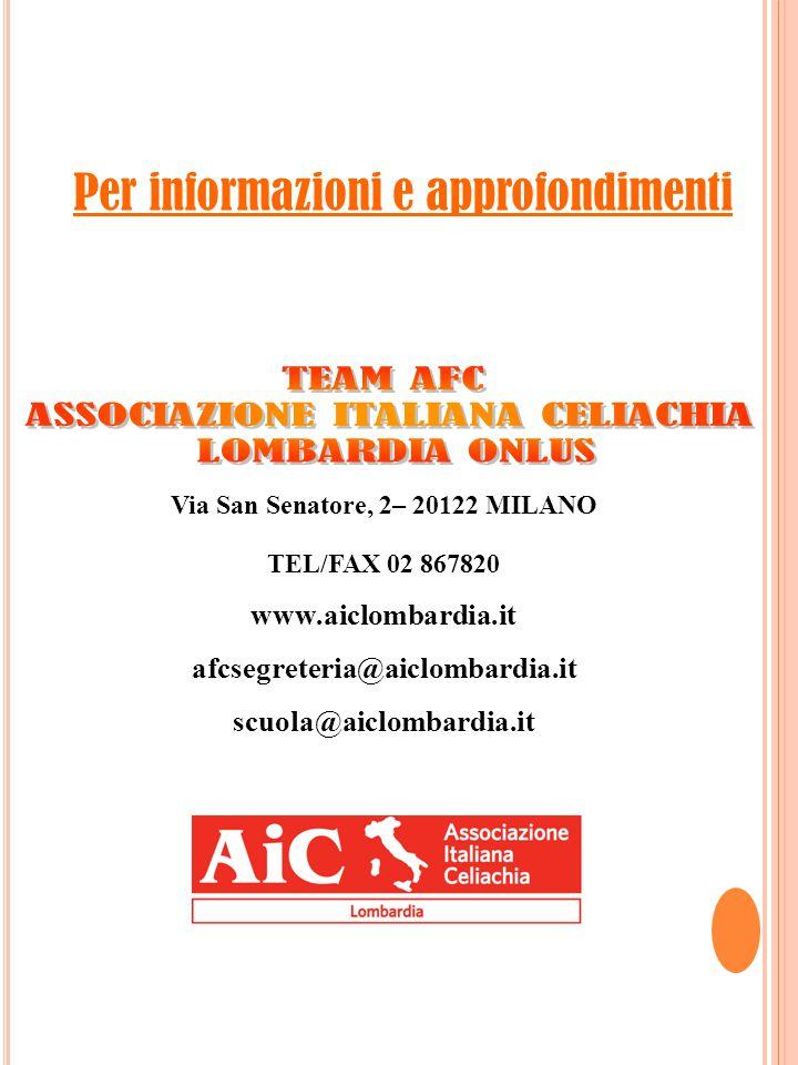Via San Senatore, 2– 20122 MILANO TEL/FAX 02 867820 www.aiclombardia.it afcsegreteria@aiclombardia.it scuola@aiclombardia.it Per informazioni e approfondimenti