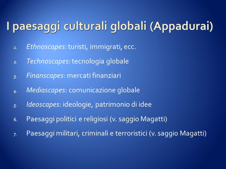 1. Ethnoscapes: turisti, immigrati, ecc. 2. Technoscapes: tecnologia globale 3. Finanscapes: mercati finanziari 4. Mediascapes: comunicazione globale
