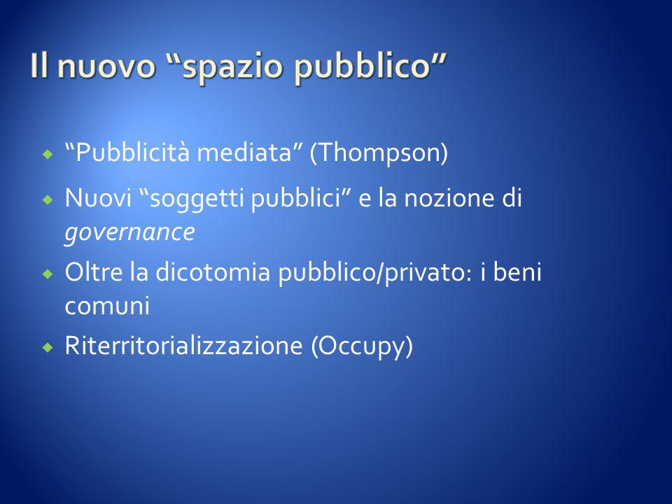 """ """"Pubblicità mediata"""" (Thompson)  Nuovi """"soggetti pubblici"""" e la nozione di governance  Oltre la dicotomia pubblico/privato: i beni comuni  Riterr"""