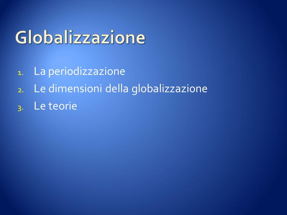 1. La periodizzazione 2. Le dimensioni della globalizzazione 3. Le teorie