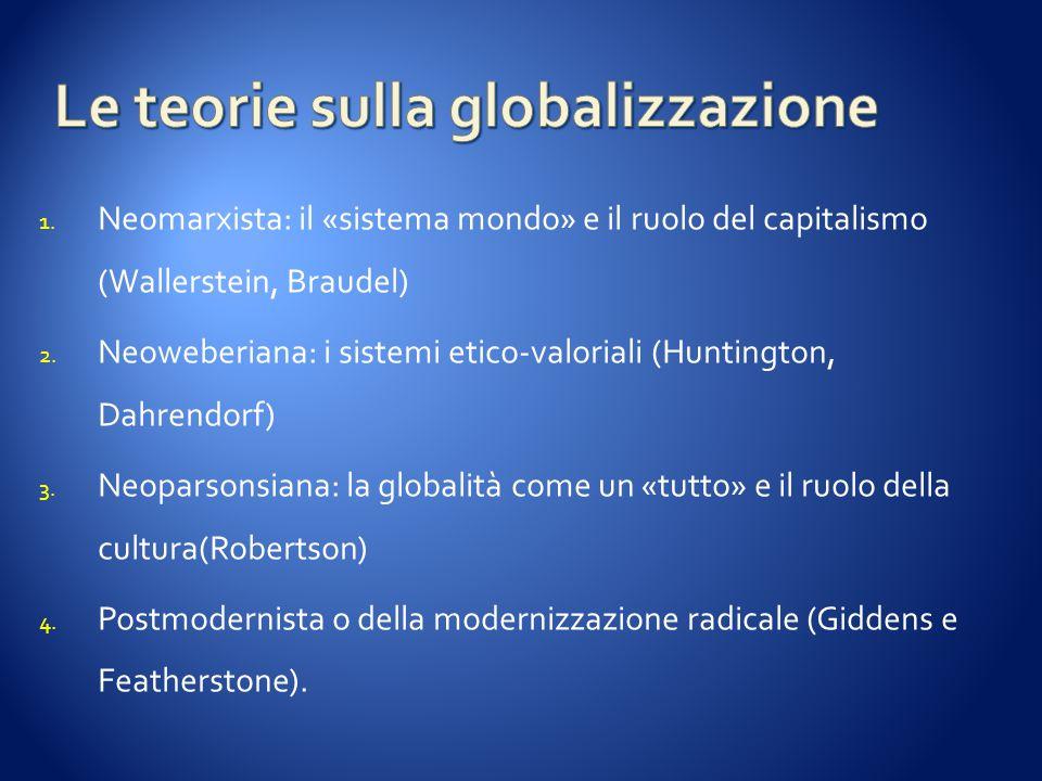 1. Neomarxista: il «sistema mondo» e il ruolo del capitalismo (Wallerstein, Braudel) 2. Neoweberiana: i sistemi etico-valoriali (Huntington, Dahrendor