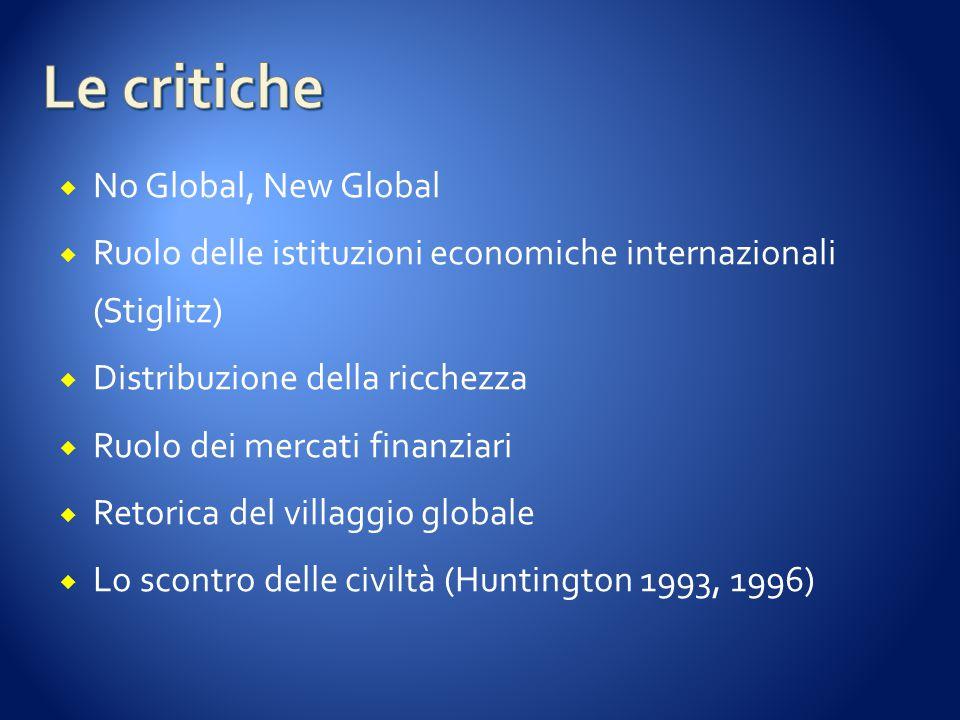  No Global, New Global  Ruolo delle istituzioni economiche internazionali (Stiglitz)  Distribuzione della ricchezza  Ruolo dei mercati finanziari