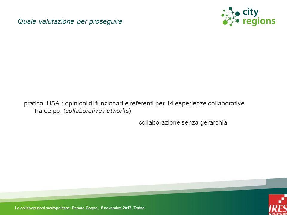 Quale valutazione per proseguire pratica USA : opinioni di funzionari e referenti per 14 esperienze collaborative tra ee.pp.