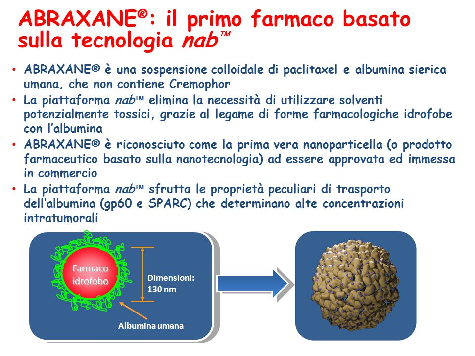 ABRAXANE ® : il primo farmaco basato sulla tecnologia nab  ABRAXANE® è una sospensione colloidale di paclitaxel e albumina sierica umana, che non contiene Cremophor La piattaforma nab  elimina la necessità di utilizzare solventi potenzialmente tossici, grazie al legame di forme farmacologiche idrofobe con l'albumina ABRAXANE® è riconosciuto come la prima vera nanoparticella (o prodotto farmaceutico basato sulla nanotecnologia) ad essere approvata ed immessa in commercio La piattaforma nab  sfrutta le proprietà peculiari di trasporto dell'albumina (gp60 e SPARC) che determinano alte concentrazioni intratumorali Albumina umana Farmacoidrofobo Dimensioni: 130 nm