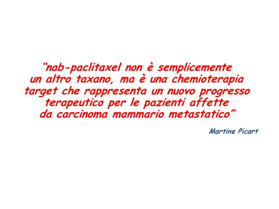 nab-paclitaxel non è semplicemente un altro taxano, ma è una chemioterapia target che rappresenta un nuovo progresso terapeutico per le pazienti affette da carcinoma mammario metastatico Martine Picart