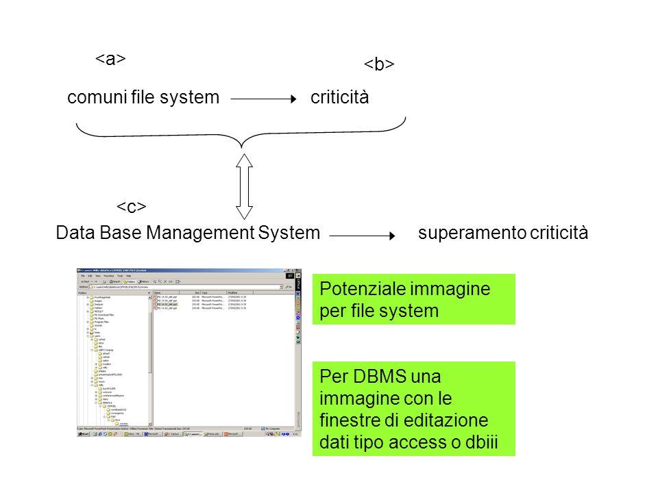 Archivi separati: limiti MOLE LIMITATA DI DATI MOLE DI DATI CONSISTENTE Gestibile da un sistema di videoscrittura Img tanti elenchi sovrapposti DB utenti applicazioni Sistema operativo