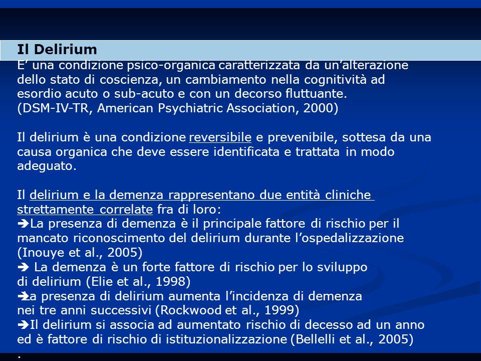 Il Delirium E' una condizione psico-organica caratterizzata da un'alterazione dello stato di coscienza, un cambiamento nella cognitività ad esordio acuto o sub-acuto e con un decorso fluttuante.