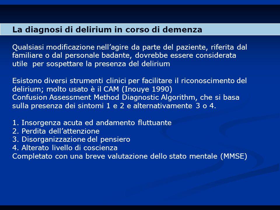 La diagnosi di delirium in corso di demenza Qualsiasi modificazione nell'agire da parte del paziente, riferita dal familiare o dal personale badante, dovrebbe essere considerata utile per sospettare la presenza del delirium Esistono diversi strumenti clinici per facilitare il riconoscimento del delirium; molto usato è il CAM (Inouye 1990) Confusion Assessment Method Diagnostic Algorithm, che si basa sulla presenza dei sintomi 1 e 2 e alternativamente 3 o 4.
