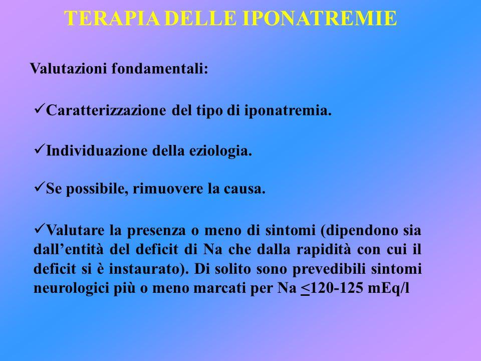TERAPIA DELLE IPONATREMIE Valutazioni fondamentali: Caratterizzazione del tipo di iponatremia. Individuazione della eziologia. Se possibile, rimuovere