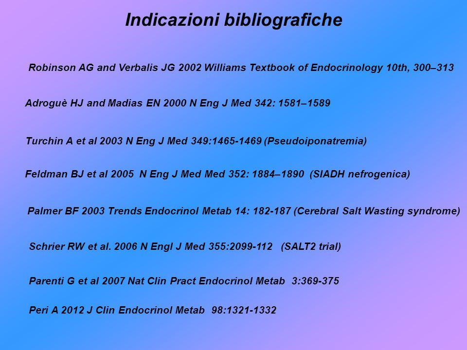 Robinson AG and Verbalis JG 2002 Williams Textbook of Endocrinology 10th, 300–313 Adroguè HJ and Madias EN 2000 N Eng J Med 342: 1581–1589 Feldman BJ