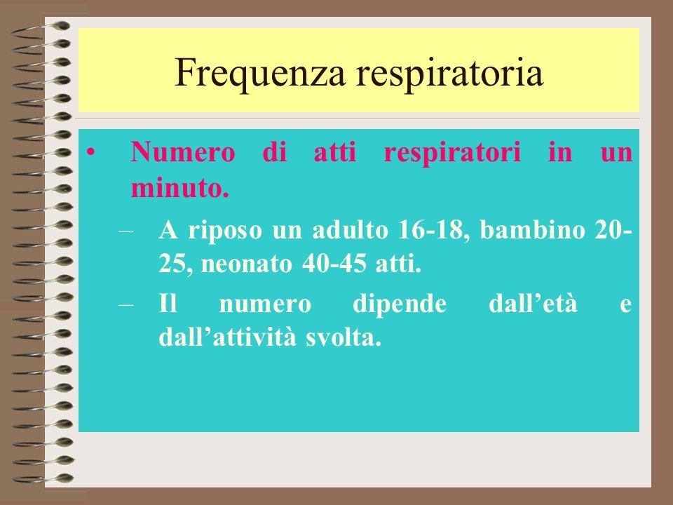 Frequenza respiratoria Numero di atti respiratori in un minuto. –A riposo un adulto 16-18, bambino 20- 25, neonato 40-45 atti. –Il numero dipende dall