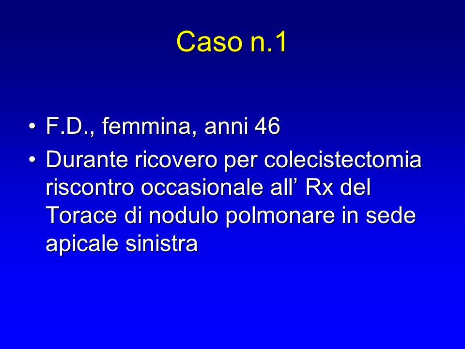 Caso n.1 F.D., femmina, anni 46F.D., femmina, anni 46 Durante ricovero per colecistectomia riscontro occasionale all' Rx del Torace di nodulo polmonar