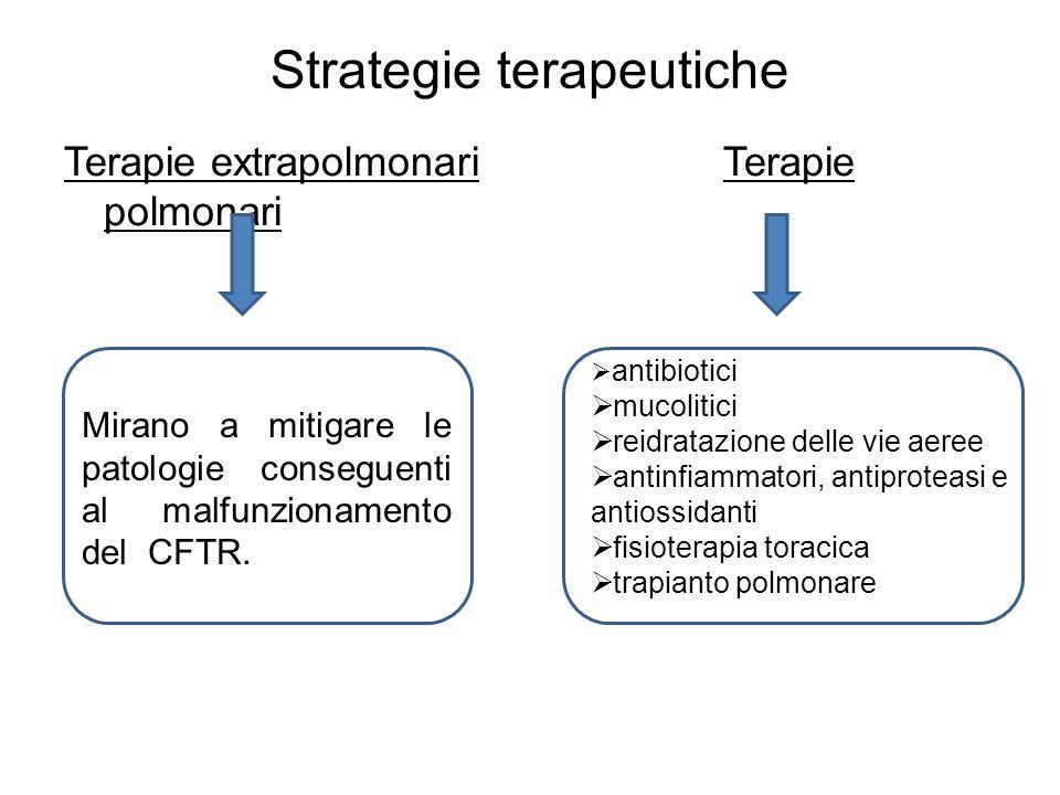 Strategie terapeutiche Terapie extrapolmonari Terapie polmonari Mirano a mitigare le patologie conseguenti al malfunzionamento del CFTR.  antibiotici