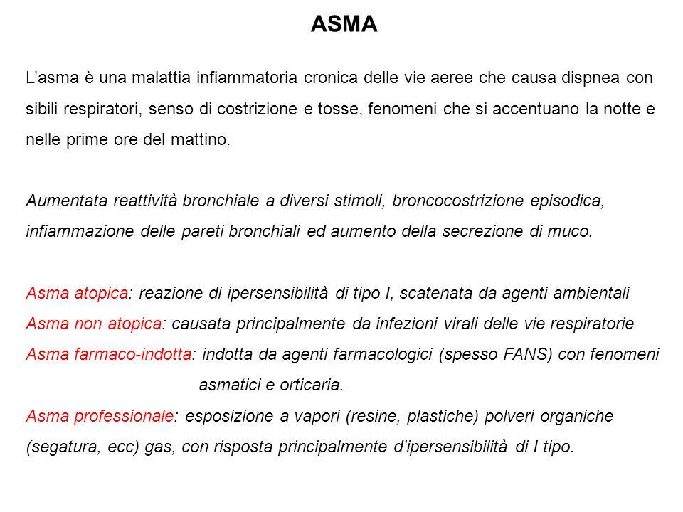 ASMA L'asma è una malattia infiammatoria cronica delle vie aeree che causa dispnea con sibili respiratori, senso di costrizione e tosse, fenomeni che