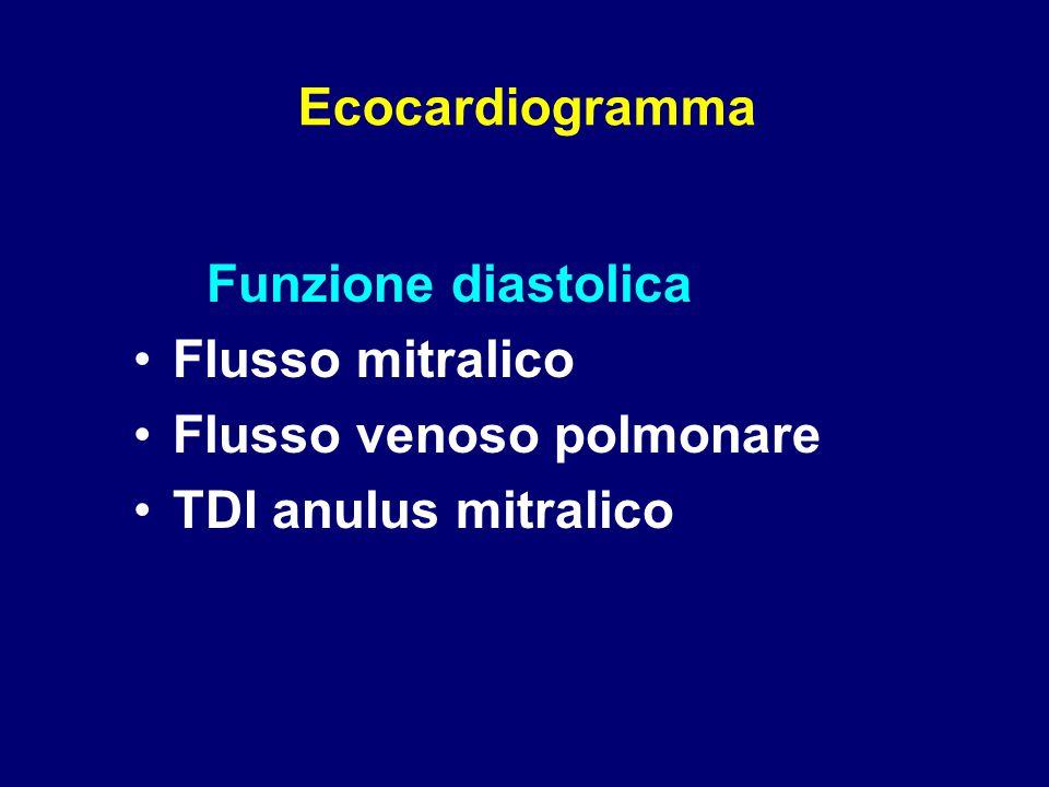 Funzione diastolica Flusso mitralico Flusso venoso polmonare TDI anulus mitralico Ecocardiogramma