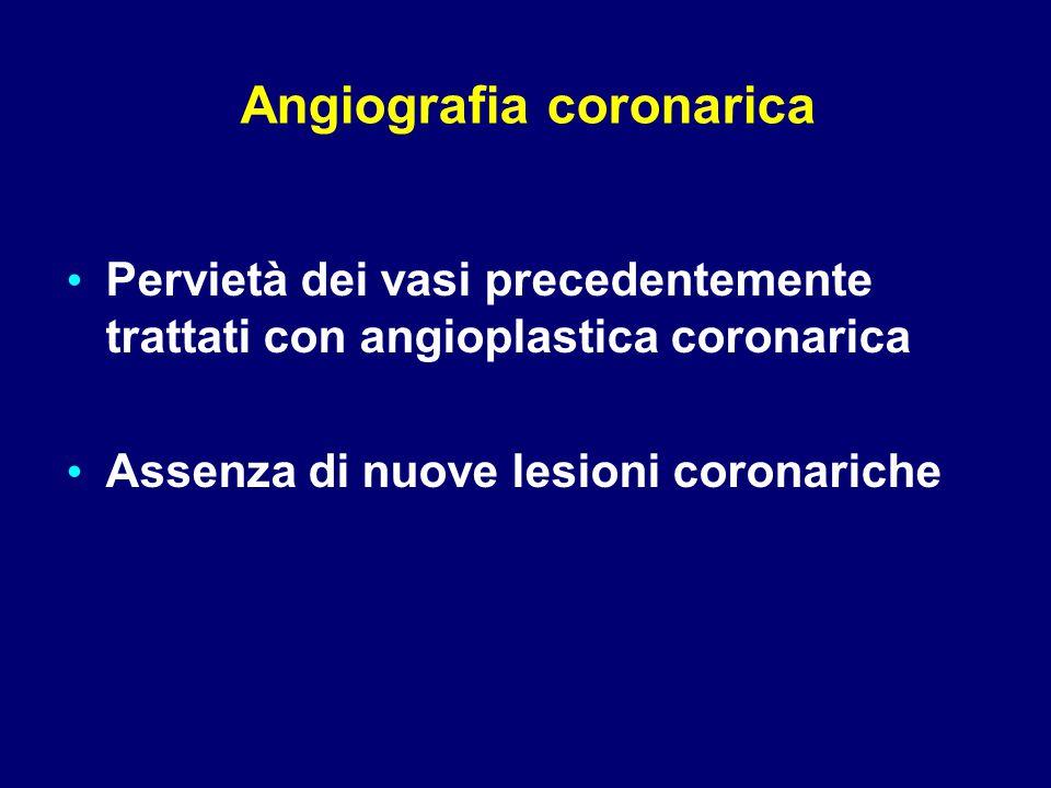Pervietà dei vasi precedentemente trattati con angioplastica coronarica Assenza di nuove lesioni coronariche Angiografia coronarica