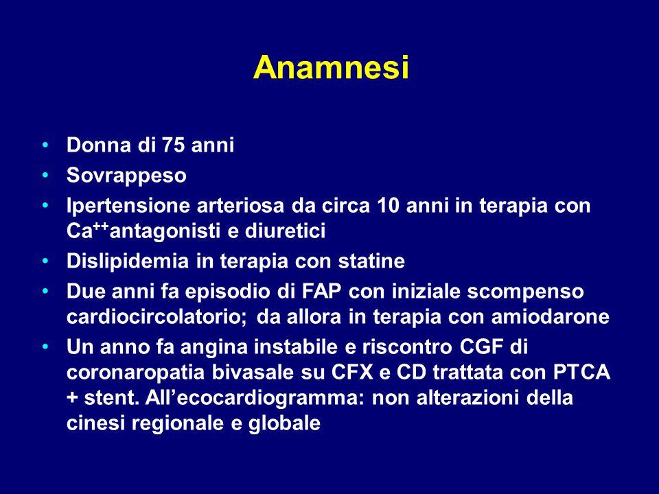 Anamnesi Donna di 75 anni Sovrappeso Ipertensione arteriosa da circa 10 anni in terapia con Ca ++ antagonisti e diuretici Dislipidemia in terapia con statine Due anni fa episodio di FAP con iniziale scompenso cardiocircolatorio; da allora in terapia con amiodarone Un anno fa angina instabile e riscontro CGF di coronaropatia bivasale su CFX e CD trattata con PTCA + stent.