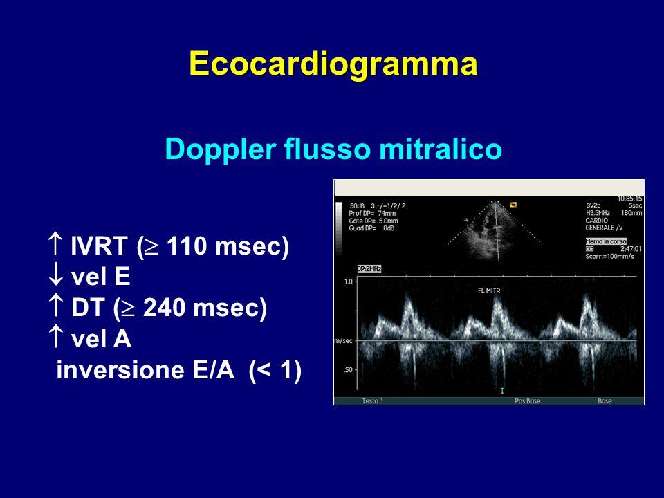  IVRT (  110 msec)  vel E  DT (  240 msec)  vel A inversione E/A (< 1) Doppler flusso mitralico Ecocardiogramma