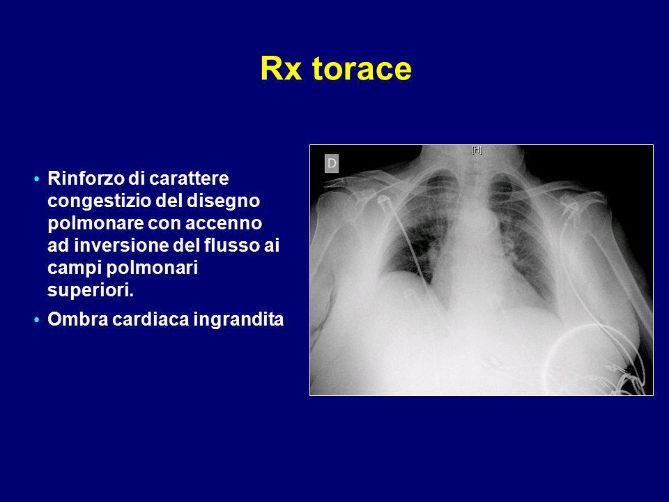 Rx torace Rinforzo di carattere congestizio del disegno polmonare con accenno ad inversione del flusso ai campi polmonari superiori.